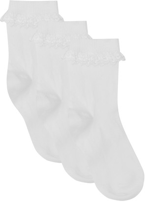 M&Co White lace frill socks three pack