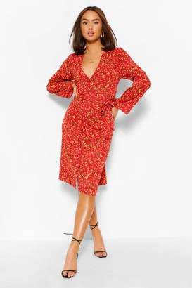 boohoo Ditsy Floral Button Front Belted Midi Dress