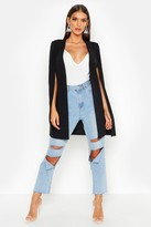 boohoo Olivia Longline Tailored Crepe Cape