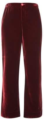 F.R.S For Restless Sleepers Etere Velvet Straight-leg Trousers - Womens - Burgundy