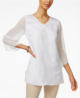JM Collection Sheer-Sleeve Studded Tunic, Only at Macy's