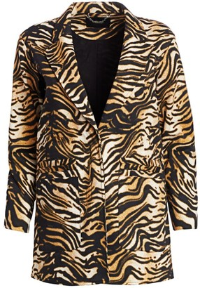 Rachel Comey Andes Tiger-Print Cotton Twill Blazer