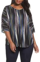 Vince Camuto Plus Size Women's Elbow Sleeve Colorful Peaks Blouse