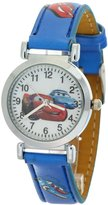 TimerMall Kids Children Boys Girls Quartz Cartoon Car Motif Blue Leather Strap Analog Wristwatch
