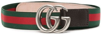 Gucci Kids GG leather-trim belt