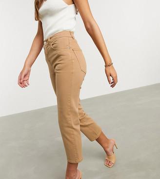 Asos DESIGN Petite High rise stretch 'slim' straight leg jeans in tan