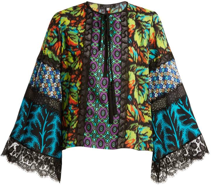 Andrew Gn Multi-print silk-blend georgette blouse