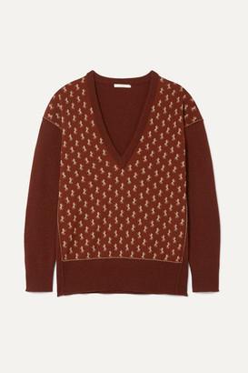 Chloé Metallic Intarsia Wool-blend Sweater - Brown