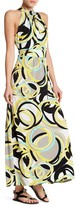 Sandra Darren Abstract Print Jewel Neck Maxi Dress
