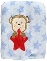 "Baby Starters Monkey Star"" Plush Blanket - blue, one"