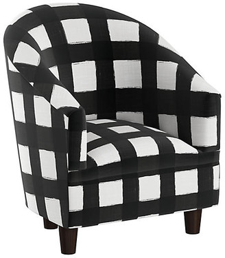 One Kings Lane Ashlee Kids' Chair - White/Black Linen