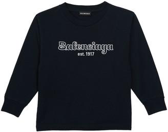 Balenciaga Kid's Bubble Script Logo Long-Sleeve T-Shirt, Size 2-10