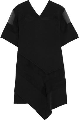 3.1 Phillip Lim Asymmetric Ribbed-knit, Wool-felt And Silk-georgette Mini Dress