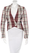 Derek Lam 10 Crosby Collarless Plaid Blazer