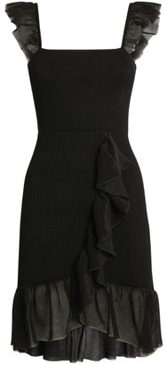 Sandro Paris Ruffle-Strap Knit Dress