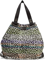 Just Cavalli Leather-trimmed printed twill tote