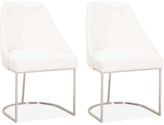 One Kings Lane Set of 2 Lola Side Chairs - Steel/Pearl Velvet