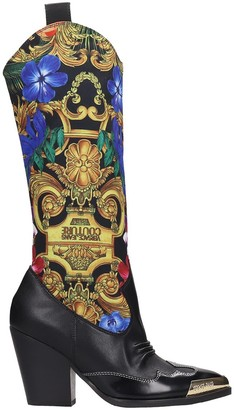 Versace Texan Boots In Black Leather And Fabric