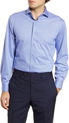 Lorenzo Uomo Trim Fit Knit Houndstooth Dress Shirt
