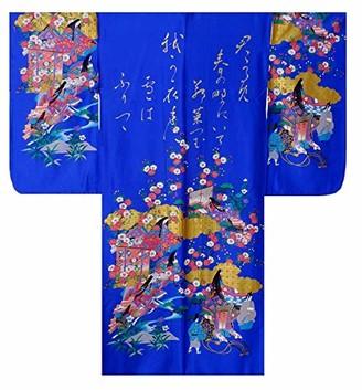 "Japan Craft Traditional & Authentic Japanese Ladies Kimono - Gilt Poem & Princess Design - Blue Colour - 100% Cotton - Made in Kyoto Japan (Medium / 56"" Length)"