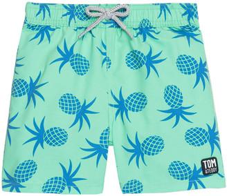 Tom & Teddy Boy's Pineapple Print Swim Trunks, Size 3T-12