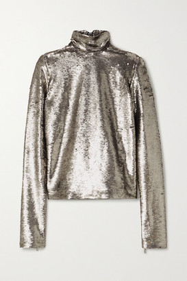 IOANNES Sequined Jersey Turtleneck Top - Silver