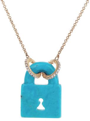 Lee Jones Arizona Turquoise Fixed Pad Lock Fine Chain Necklace - Yellow Gold