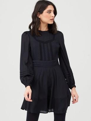 Very Cotton Jaquard Mini Dress - Black