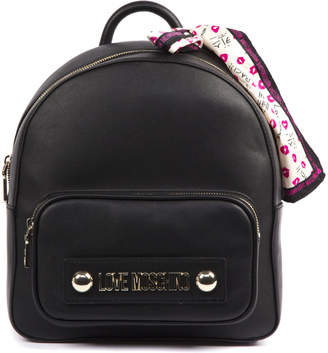 Love Moschino Black Eco Leather Backpack With Foulard