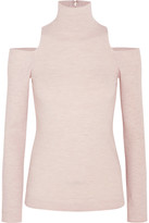 Donna Karan Cutout Cashmere-blend Turtleneck Sweater - Beige