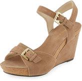 Taryn Rose Takie Suede Double-Strap Wedge Sandal, Peanut