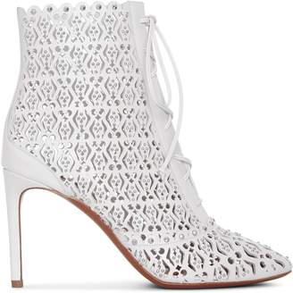 Alaia White laser cut lace-up ankle boots