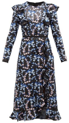 Giambattista Valli Floral Embroidered And Sequinned Midi Dress - Womens - Blue Multi