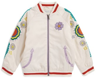 Stella McCartney Embroidered Satin Bomber Jacket