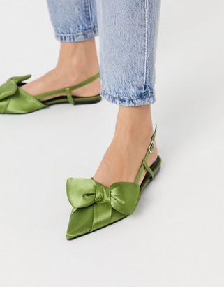 Liliana ASOS DESIGN pointed bow slingback ballet flats in green