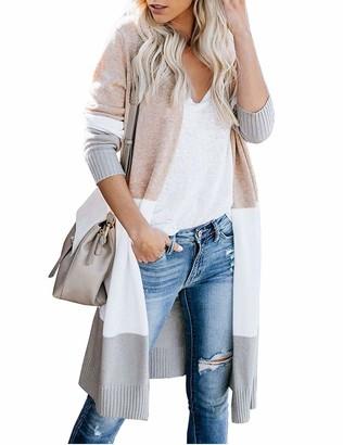 PeaceCake Womens Boho Open Front Cardigan Colorblock Sweaters Khaki L