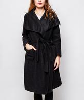 Black Wool-Blend Tie-Front Trench Coat