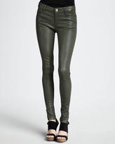 Current/Elliott The Skinny Zip-Cuff Leather Leggings, Military Green