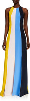Lela Rose Multi-Stripe Fluid Crepe Seamed Halter Gown