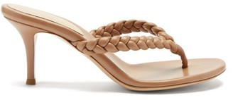 Gianvito Rossi Tropea 70 Braided Leather Sandals - Tan