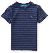 Nautica Little Boys 4-7 Striped V-Neck Short-Sleeve Tee
