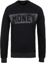 Money Jet Black Punched Out Crew Neck Sweatshirt