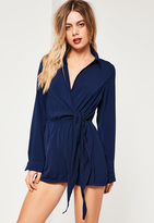 Missguided Navy Wrap Front Shirt Romper