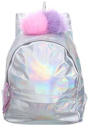 Ella & Elly Women's Backpacks Green - Silver Holographic Pom-Pom Backpack