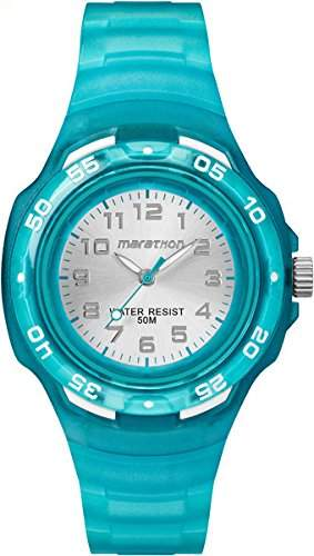 Timex Children's Quartz Watch with Silver Dial Analogue Display and Blue Resin Strap TW5M06400