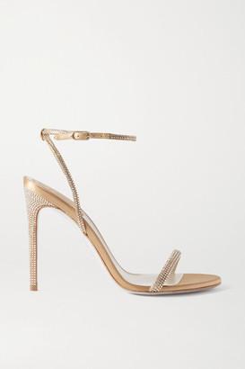Rene Caovilla Crystal-embellished Satin Sandals - Gold