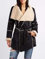 Charlotte Russe Faux Suede Sherpa Wrap Jacket