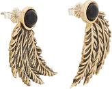 Pamela Love Onyx and Feather Drop Earrings