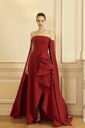 GEORGES HOBEIKA Long Cape Sleeve Crepe Slit Gown