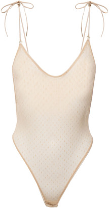 Le Petit Trou Apollonia Bow-detailed Point D'esprit Bodysuit